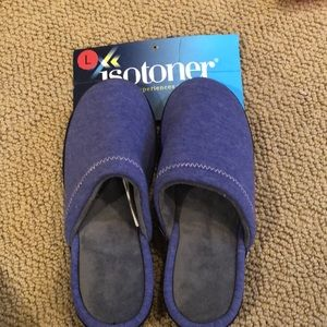Isotoner purple rubber soles slippers size L